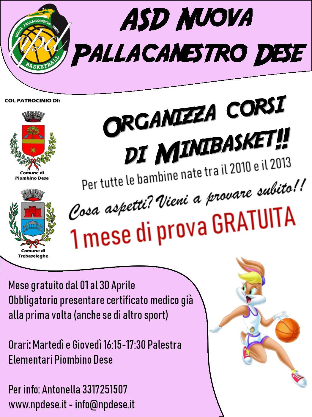 Un mese di prova gratuita per le bambine nate tra il 2010 e il 2013 - minibasket nuova pallacanestro piombino dese